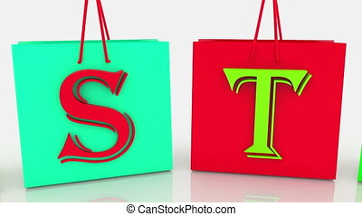 Easter concept on colorful shopping bags