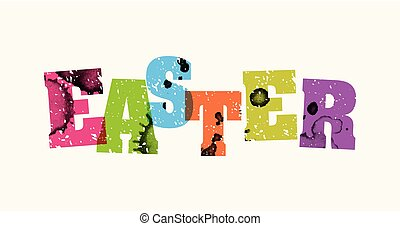 Easter Concept Stamped Word Art Illustration