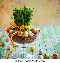 Easter concept - Easter composition with fresh green grass...