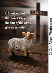easter concept with text in english, lamb and cross symbol -...