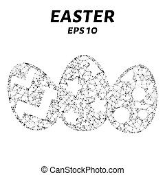 Easter consists of points, lines and triangles. The polygon shape in the form of a silhouette eggs on a white background. Vector illustration.