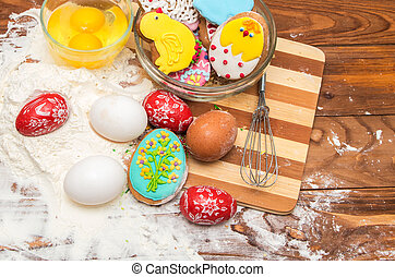 Easter cookies and ingredients for cooking
