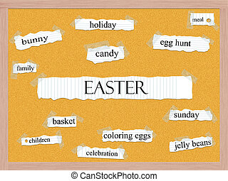 Easter Corkboard Word Concept