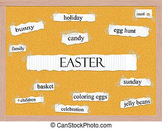 Easter Corkboard Word Concept