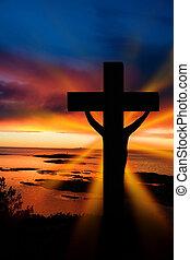 Easter Cross - A cross at sundown on the ocean