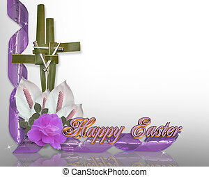 Image and illustration composition, gold and purple cross with ribbons and roses for religious holiday background or border, copy space