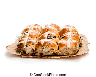 Easter cross buns and sultanas isolated on white background