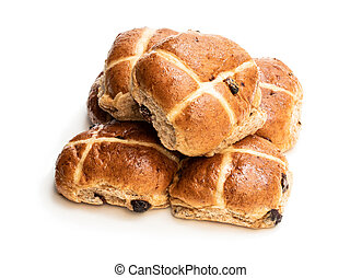 Easter cross buns with sultanas isolated on white background