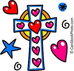 Easter Cross Cartoon Doodle