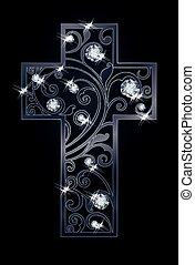 Easter cross with diamonds, vector