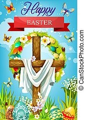 Easter cross with eggs, lily flowers and shroud
