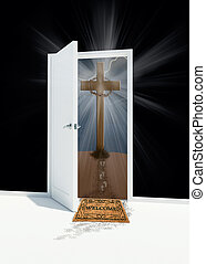Easter cross with open door