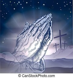 Easter Crosses and Praying Hands - Christian Easter concept...