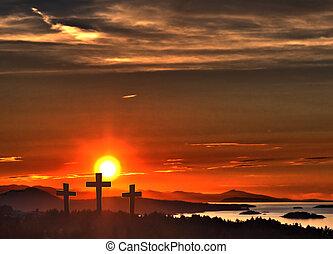 Easter Crosses over Ocean Sunset