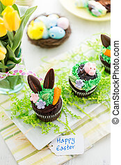 Easter cupcakes - Easter chocolate cupcakes decorated with...