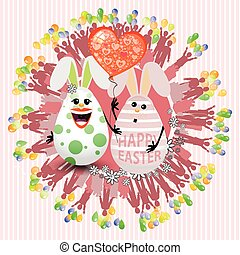Easter cute eggs two lovely with a balloon