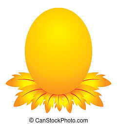 easter day, golden egg cartoon character with feather