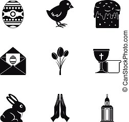 Easter day icon set, simple style