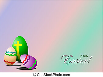 Easter day symbols background. Eggs, crosses and flowers....