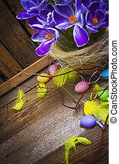 Easter decoration card vintage eggs basket wooden