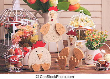 Easter decorations on the table