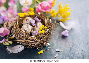 Easter decorations on wooden surface