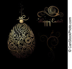 Easter vector decorative egg with floral ornate design
