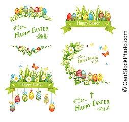 Easter design elements set