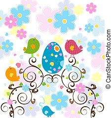 Easter design with little birds and eggs