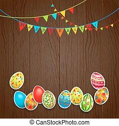 Easter design on wood background