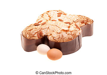 Easter Dove And Eggs On White Background