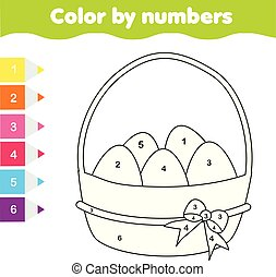 Easter drawing game. Color by numbers, printable worksheet. Coloring page with Easter Eggs. Educational game for toddlers and kids