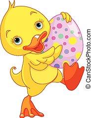 Illustration of Easter duckling carry Egg
