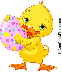 Easter duckling - Illustration of happy Easter duckling...