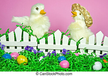 Easter Ducklings - Cute ducks with Easter eggs.