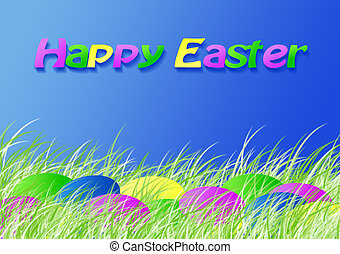 Easter dyed eggs in the spring grass, version with text,...