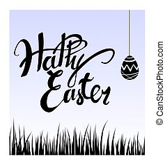 Easter egg and grass. Dark silhouette on a light background. Greeting card happy Easter. Vector illustration.