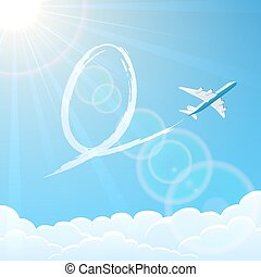 Easter egg and plane in the sky