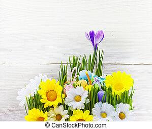 Easter Egg background wooden card spring flower grass