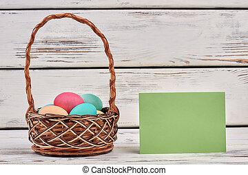 Easter egg basket, blank card.