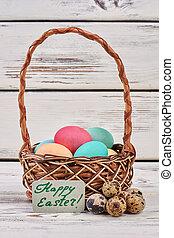 Easter egg basket, greeting card.