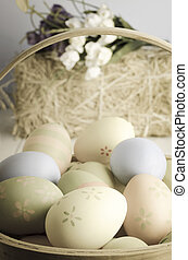 Easter Egg Basket - A selection of decorated Easter eggs in...