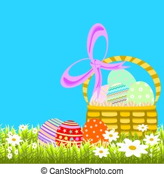 Easter Egg Basket sitting in green grass and daisies