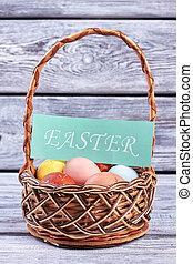 Easter egg basket with card.
