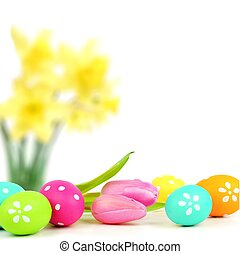 Easter egg border - Colorful Easter egg border with abstract...