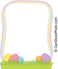 Easter Egg Border A With Eggs In The Grass At Vector Clipart