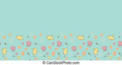 Easter Egg Bunny Flower Frame Border Seamless Pattern