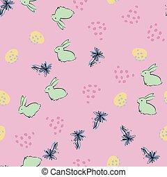 Easter Egg Bunny Flower Seamless Pattern