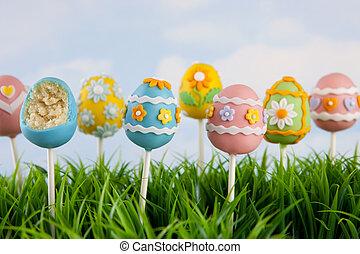 Easter egg cake pops - Variety of mini cakes on sticks...