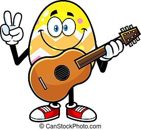 Easter Egg Cartoon Character With Guitar Showing Peace Hand Sign